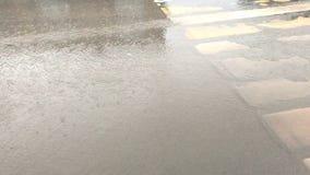 Regen auf der Fahrbahn stock footage