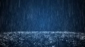 Regen auf dunkel blauem Hintergrund stock footage