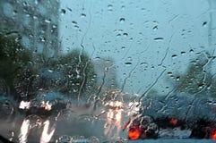 Regen auf Glas Stockfotografie