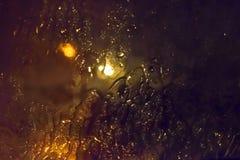Regen auf Glas nachts Stockbilder