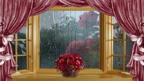 Regen bij het venster stock videobeelden