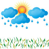 Regen, de lente, zon, wolken, gras Stock Fotografie