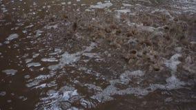 Regen, der in die Pfütze des Wassers fällt stock footage