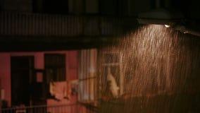 Regen in der Stadt nachts stock footage