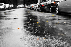 Regen en auto's Royalty-vrije Stock Foto's