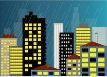 Regen en de stad   royalty-vrije illustratie