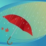 Regen en paraplu Royalty-vrije Stock Afbeelding