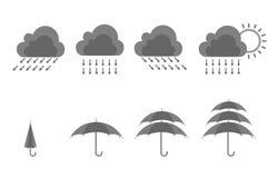 Regen en paraplupictogramreeks Royalty-vrije Stock Afbeeldingen