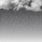 Regen en witte die wolken op transparante achtergrond wordt geïsoleerd Vector illustratie stock fotografie