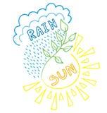 Regen en zon royalty-vrije illustratie