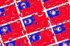 Regen fällt voll von Tchaj-WAN-Flaggen stockfotografie