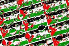 Regen fällt voll von Westsahara-Flaggen Stockfotografie