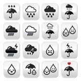 Regen, Gewitter, schwere Wolkenvektorknöpfe eingestellt Lizenzfreie Stockfotografie