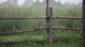 Regen in het dorp stock videobeelden
