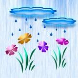 Regen in het tuinart. Royalty-vrije Stock Foto's