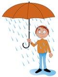 Regen innerhalb des Regenschirmes Stockfotografie