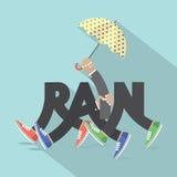 Regen met Benen en het Ontwerp van de Paraplutypografie Stock Foto
