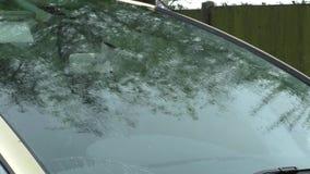 Regen op een autovoorruit stock video