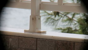 Regen op het balkon die het overzees in een vignet 2 overzien stock footage