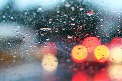 Regen op het venster Stock Foto's