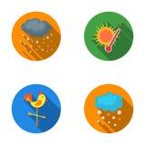 Regen, sneeuw, hitte, weathervane De pictogrammen van de weer vastgestelde inzameling in het vlakke Web van de de voorraadillustr stock illustratie