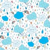 Regen-Themamuster des Vektors nahtloses Buntes kritzelndes Herbstdesign mit Wolken Lizenzfreie Stockbilder