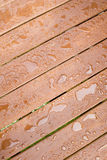 Regen-Tropfen auf Holz stockfotos
