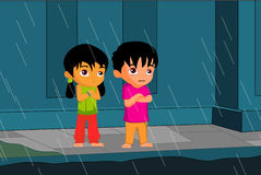 Regen und Kinder lizenzfreie abbildung