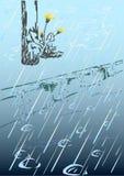 Regen und Löwenzahn Stockfoto