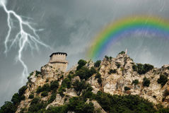 Regen und Regenbogen Stockfotos