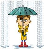 Regen- und Regenschirmkarikaturillustration stock abbildung