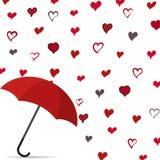 Regen van hart met paraplu stock illustratie