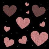 Regen van harten en sterren op zwarte achtergrond Royalty-vrije Stock Afbeeldingen