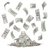 Regen von Dollarscheinen und ein Haufen des Geldes lokalisiert Lizenzfreie Stockbilder