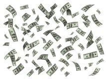 Regen von hundert Dollarscheinen Stockfoto