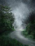 Regenachtig landschap Stock Afbeeldingen