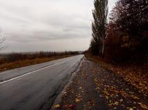 Regenachtig weer boven de weg royalty-vrije stock afbeelding
