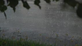 Regenachtig weer op een stadsstraat stock videobeelden