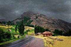 Regenachtige dag in de bergen van Peru royalty-vrije stock foto's
