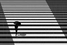 Regenachtige dag en meisje, illustratie met stemming EPS vector illustratie