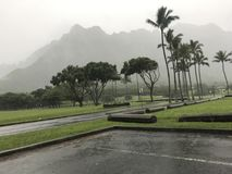 Regenachtige dag in Kualoa stock afbeelding