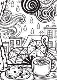 Regenachtige Dag maar ik houd van het Lijnkunst en schets Illustratie Stock Fotografie