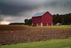 Regenachtige dag op het landbouwbedrijf stock afbeeldingen