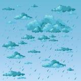Regenachtige dag Wolken en regen Stock Afbeelding