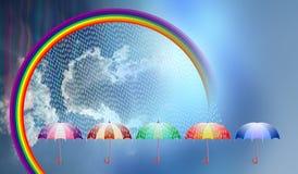 Regenachtige dagparaplu, regenboog, wolken vectorachtergrond Vector illustratie stock illustratie