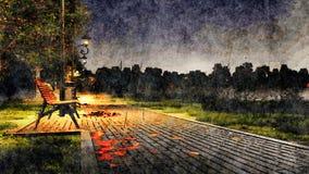 Regenachtige de herfstnacht in het landschap van de parkwaterverf vector illustratie