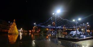 Regenachtige nacht in Ohrid, Macedonië Stock Afbeeldingen