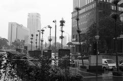 Regenachtige straatdag in Azië stock foto's
