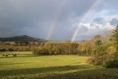 Regenbogen über Carrigaoon-Hügel lizenzfreie stockfotos