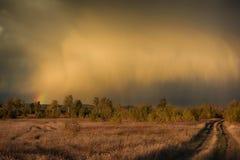 Regenbogen über dem Feld lizenzfreies stockfoto